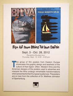 """""""Film Art From Behind The Iron Curtain"""" - Exhibit poster Western Film, Film Posters, Exhibit, Iron, Graphic Design, Film Poster, Movie Posters, Visual Communication, Steel"""