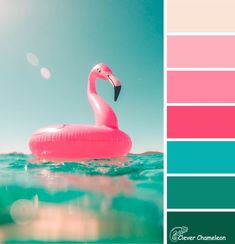 """The """"Flamingoes in the Pool"""" colour palette is hot pink, blue, aqua and tan. Colours that will make you smile and brighten your next creative project. Enjoy!"""