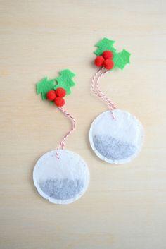 DIY Christmas tea bags made with felt holly embellishments