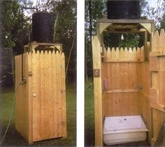 With the sun providing heat, you only have to provide the water for this outdoor solar shower. Originally published as