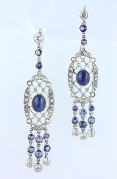 Edwardian sapphire and diamond pendant earrings