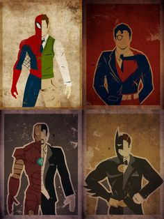 SuperHeroes. I love this because Superman is 'backwards' Everyones costume is on the left, and Clark Kent is Superman's costume.