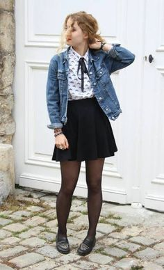 Denim jacket, White shirt with bow, Black skirt, Black tights, moccasins - Casual Outfit Mode Outfits, Skirt Outfits, Fall Outfits, Casual Outfits, Summer Outfits, Fashion Outfits, Womens Fashion, Fashion Trends, Dress And Tights Outfit