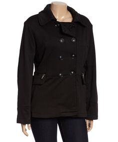 Love this Yoki Black Peacoat - Plus by Yoki on #zulily! #zulilyfinds
