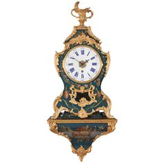 A French Louis XV Blue Vernis Martin Ormolu Mounted Bracket Clock on Wall Bracket, circa 1750 | From a unique collection of antique and modern clocks at http://www.1stdibs.com/furniture/more-furniture-collectibles/clocks/