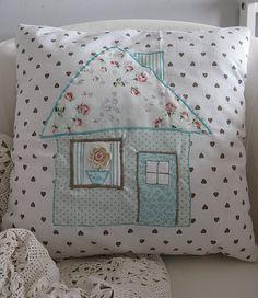 adorable appliqued house pillow