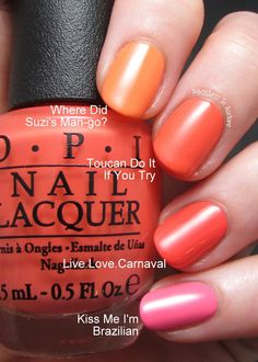 Adventures In Acetone: Brazil by OPI Swatches, Part 1: The Brights!
