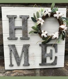 Rustic Farmhouse Sign, Farmhouse HOME Sign, Fixer Upper Inspired Sign, Magnolia Style Home Sign, Cotton Boll Wreath, Farmhouse Decor, Rustic sign, Rustic decor, Gift idea, Home decor, Gallery Wall decor #ad