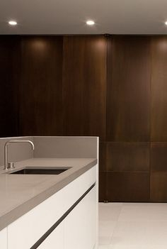Bronze kitchen cabinets.