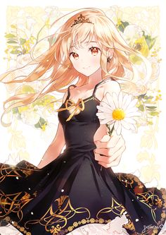 """Be my prince ~?"" She asked as she held out the sunflower."