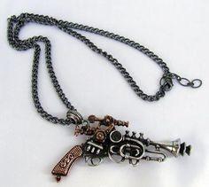 steampunk pistol necklace