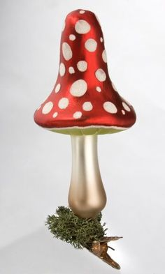Magical Mushroom with Legend Card from Inge Glas of Germany.   Hand-blown, hand-painted glass ornament.  Available at www.mygrowingtraditions.com