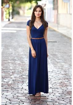 Belted faux wrap maxi dress. A stunning pullover maxi in a soft, lightweight knit flaunts a low-cut, surplice neckline for an incredibly flattering fit. Cap sleeves and figure-shaping gathered elastic at the waist. Style #5663 $24.90.