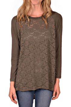 Another comfortable, flattering tunic from Comfy USA. Lace body with raglan sleeves. Round neckline, contrast sleeves, high low hemline. This top is perfect over a white tank and skinny jeans.    Lace Raglan Tunic by Comfy USA. Clothing - Tops - Casual Clothing - Tops - Long Sleeve Clothing - Tops - Tunics Kentucky