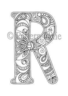 Welcome to my range of Alphabet Letters colouring pages! These are hand drawn for adults and aspiring young artists. Grab your coloured pencils and Coloring Letters, Alphabet Coloring Pages, Colouring Pages, Adult Coloring Pages, Coloring Books, Quilling Patterns, Zentangle Patterns, Zentangles, Alphabet Crafts
