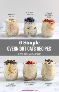 6 Easy Overnight Oats Recipes Wondering where to start with overnight oats? Start here! Learn all you need to know when starting out with overnight oats and try these 6 easy overnight oats flavors that will certainly become your favorite! Overnight Oats Receita, Overnight Oats In A Jar, Overnight Breakfast, Low Calorie Overnight Oats, Overnight Oats Coconut Milk, Overnight Steel Cut Oats, Dairy Free Overnight Oats, Best Overnight Oats Recipe, Overnight Chia Pudding