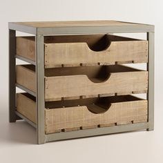 Give your desktop storage a rustic appeal with our apple crate-inspired organizer. >> #WorldMarket Home Office