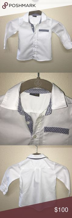 Aut Fendi Baby boy signature button up shirt 12 M Very Rare Authentic Fendi Baby boy signature button up shirt 12 Months very good condition very light mark on collar and under one button one button is broken but there is a replacement on the interior tag. I have the matching bow tie in a separate listing. Fendi Shirts & Tops Button Down Shirts
