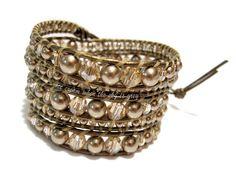 DIY Bracelet Tutorial: Swarovski Bronze Pearl & Crystal Golden Shadow Graduated Mix On Kansa Leather - Chan Luu Women's 5 Wrap