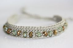 Crochet beaded friendship bracelet Sage by LupineJewelry on Etsy, $16.50