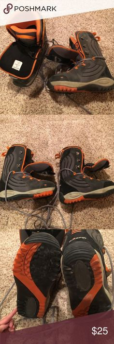 Kingpin Snowboarding Boots Orange Black Gray Orange black & grey Kingpin snow boarding boots. These were only used a few times and have just been in storage ever since. I wear an 8.5 in shoes these are a 9 & they fit perfect plenty of room for warm socks!   🍍 Have questions? Please ask! 💚 I love offers! 🍍 I won't be offended when you lowball only if you won't be offended when I counter.  💚 Please use the offer button or my 'Closet Rules' thread to negotiate bundles. 🍍  Refer to my handy…