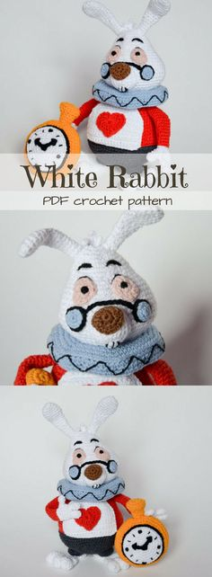 Alice in Wonderland White Rabbit stuffed toy crochet pattern. I love the little clock! He is such a good rendering of the Disney character! This amigurumi pattern looks so fun to make!