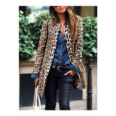 SheIn(sheinside) Yellow Long Sleeve Leopard Print Coat (135 PLN) via Polyvore featuring outerwear, coats, multi, leopard coat, black trench coat, yellow trench coat, short trench coat i leopard print trench coat