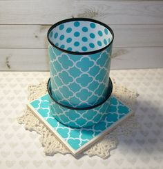 Turquoise Quatrefoil and Polka Dots Desk Accessories - Turquoise Pencil Holder - Pencil Cup - Office Organization - Office Decor - 484