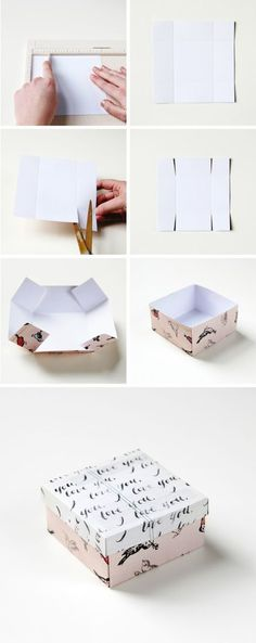 DIY: gift box. I do this with recycled Christmas cards! Any cards really. No…