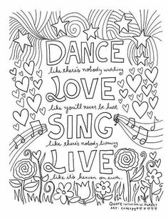 Free Printable Adult Coloring Page Dance Love Sing Live