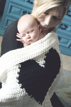 Crochet Heart Love Blanket Throw Baby Unisex Home by CrochetSavy