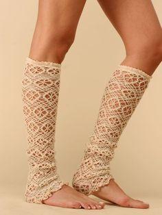 crochet lace leg warmers