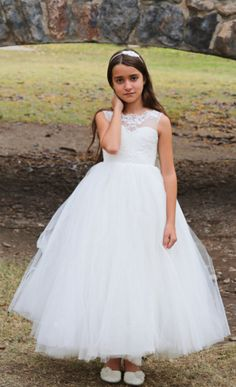 Gender:+Girls Dresses+Length:+Floor-Length Fit:+Fits+true+to+size,+take+your+normal+size Silhouette:+Ball+Gown Pattern+Type:+Solid Style:+Formal Material:+Mesh,Satin,Lace Decoration:+Appliques Collar:+O-neck Note: Princess Flower Girl Dresses, Wedding Flower Girl Dresses, Princess Girl, Tulle Wedding, Little Girl Dresses, Nice Dresses, Amazing Dresses, Flower Girls, Inexpensive Prom Dresses