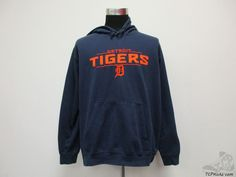 Vtg MLB Detroit Tigers Hoody Hoodie Sweatshirt sz 2XL 2 Extra Large SEWN  #MLB #DetroitTigers