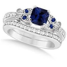 Allurez Butterfly Blue Sapphire & Diamond Princess Set 14k W. Gold... (£2,120) ❤ liked on Polyvore featuring jewelry, rings, white gold, blue wedding rings, gold ring, yellow gold diamond rings, yellow gold wedding rings and 14k gold ring