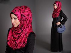 Red and Black Hijab Combination 2013