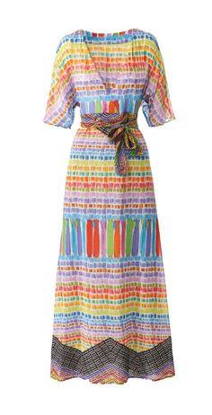 Unser Hippie-Kleid nähen wir in Maxilänge mit tiefem V-Ausschnitt, halblangen Ärmeln und Bindegürtel. Das Hippie-Kleid hat das Zeug zum Lieblingsteil.