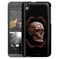 HTC Desire 816 Orange Tattoo Skull on Black Slim Case