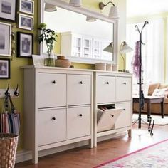 Remove the hind legs to the cabinet to bring closer to the wand. Add a mirror and overhead lighting make the space appear larger.