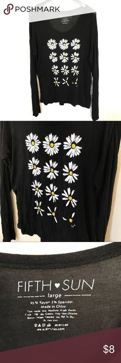 """❤️ Black long sleeve soft daisy top love Floral Cute, soft and lightweight black long sleeve top with daisies be small """"love"""" lettering. Size Large, stretchy. See measurement photos please. Good preowned condition. Fifth Sun Tops Tees - Long Sleeve"""