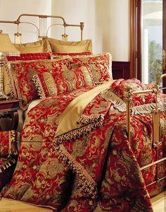 Sherry Kline China Art Red Comforter Set - Overstock Shopping - Great Deals on Sherry Kline Comforter Sets Luxury Comforter Sets Queen, Red Comforter Sets, California King, Bauhaus, European Pillows, Stylish Beds, Luxury Bedding Collections, Boudoir, Art Nouveau