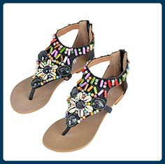 6710aa6cdb6d Bohemia Bead Shell Colorful Vintage Clip Toe National Wind Flat Zipper  Sandals is comfortable to wear. Shop on NewChic to see other cheap women  sandals on ...