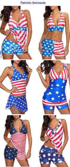 American Flag Print Patriotic Swimsuits, 4th Of July Swimsuits