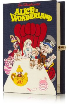 OLYMPIA LE-TAN Alice in Wonderland embroidered cotton-canvas clutch €1,587.02