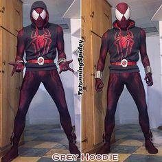 "My @brandonogilberto ""TASM1 Scarlet Spider"" cosplay (GREY HOOD). Suit was created by @therpcstudio ..."