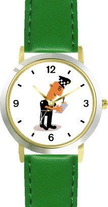 Police Officer or Policeman Writing Ticket - WATCHBUDDY® DELUXE TWO-TONE THEME WATCH - Arabic Numbers - Green Leather Strap-Size-Children's Size-Small ( Boy's Size & Girl's Size ) WatchBuddy. $49.95