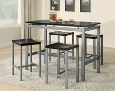 5 PC Industrial Black & Silver Counter Height Dining Set 150095