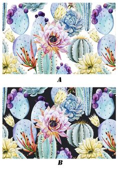 "Watercolor Cactus Wallpaper Succulent Wall Mural Tropical Plant Art Colorful Bold Flower Wall Poster Dark Cactus Print Home Decor 55.5""x35"" by DreamyWall"