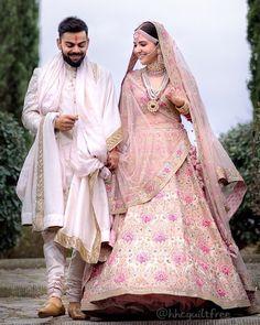 Anushka Sharma Looked Royal in Pink Floral Lehenga By Sabyasachi – Lady India Couple Wedding Dress, Wedding Dresses Men Indian, Wedding Lehnga, Indian Wedding Couple, Wedding Sherwani, Indian Bridal Outfits, Indian Bridal Lehenga, Bollywood Wedding, Wedding Wear