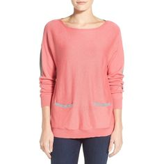 Vince Camuto Colorblock Boatneck Sweater ($99) ❤ liked on Polyvore featuring tops, sweaters, coral sugar, petite, long sleeve tops, long sleeve pullover sweater, colorful sweaters, boat neck tops and boatneck sweater
